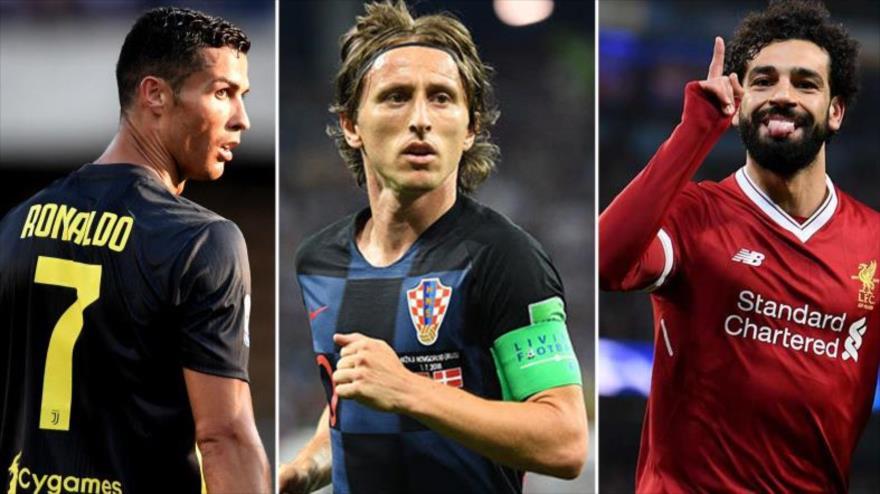 Cristiano Ronald, Luca Modric y Mohamad Salah.