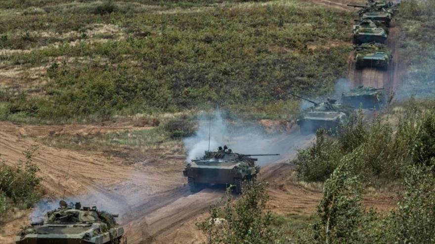 Tanques rusos durante el ejercicio Zapad 2017.