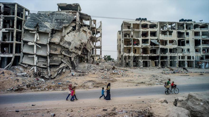 Los edificios destruidos en la Franja de Gaza por los ataques del régimen de Israel.