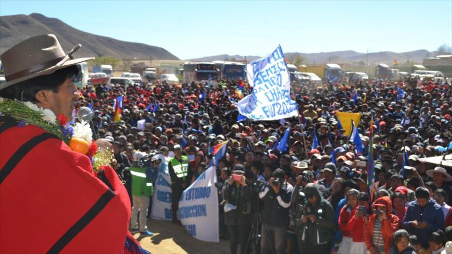 Evo Morales, presidente de Bolivia, habla en un acto en la comunidad de Villa Charcas en Chuquisaca, 23 de agosto de 2018. (Foto: ABI)