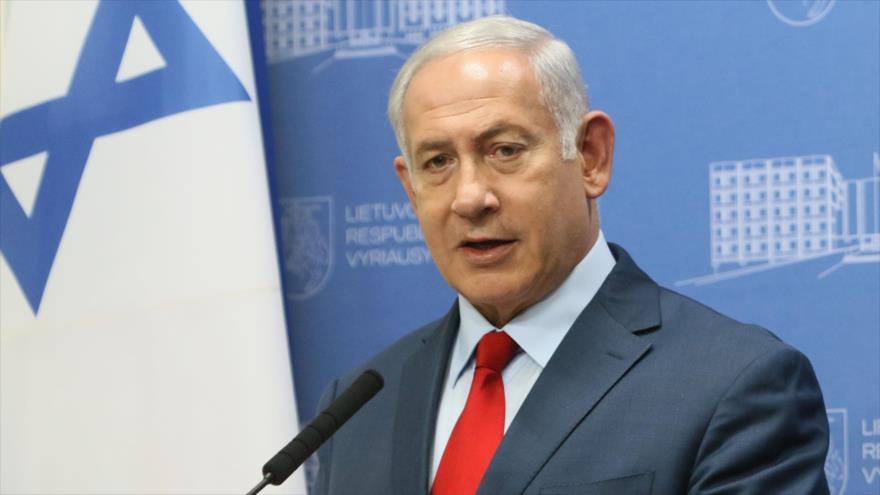 El premier israelí, Benjamín Netanyahu, en una conferencia de prensa en Lituania, 23 de agosto de 2018. (Foto: AFP)