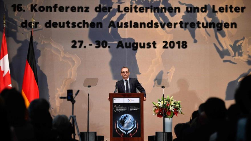 El ministro de Exteriores alemán, Heiko Maas, al inaugurar una conferencia de embajadores en la sede de esta Cartera en Berlín, la capital alemana.