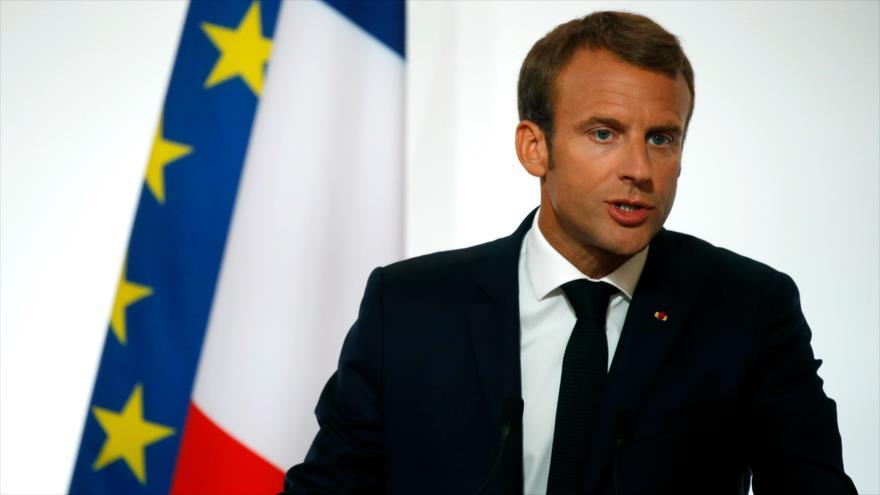 El presidente de Francia, Emmanuel Macron, pronuncia un discurso en el Palacio del Elíseo en París, la capital, 27 de agosto de 2018. (Foto: AFP)
