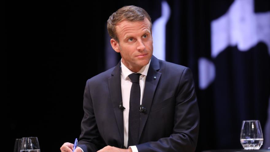 El presidente de Francia, Emmanuel Macron, en el debate de 'Black Diamond' en Copenhagen, 28 de agosto de 2018 (Foto por: AFP)