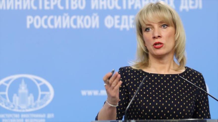 La portavoz de la Cancillería de Rusia, María Zajarova, ofrece una rueda de prensa en Moscú, capital.