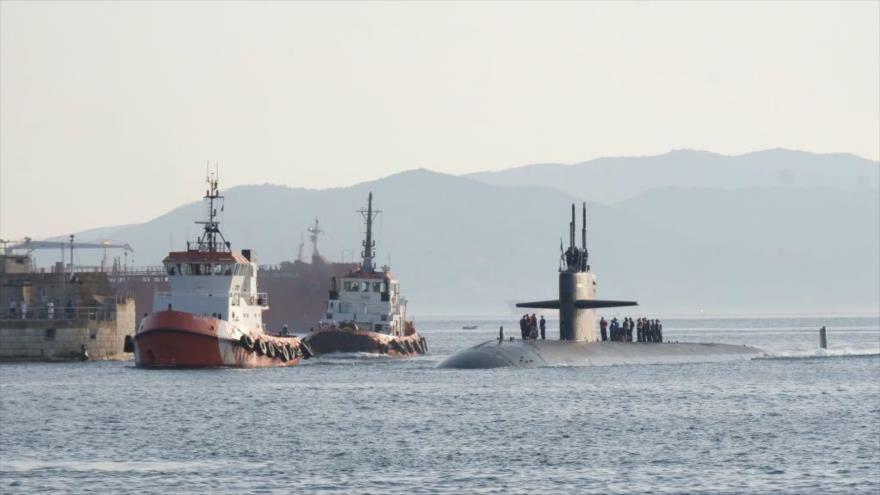 El USS Newport News, submarino de ataque nuclear de EE.UU., se aproxima al puerto de Gibraltar, 31 de agosto de 2018. (Foto: Gibraltar Chronicle)