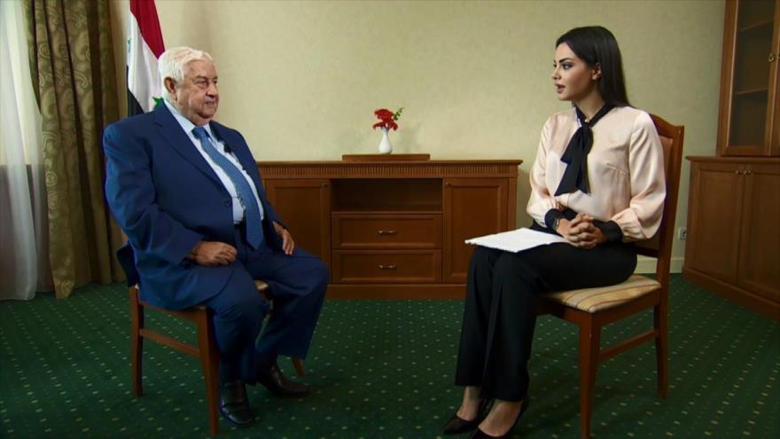 El canciller sirio, Walid al-Moalem, en una entrevista con RT, 1 de septiembre de 2018.