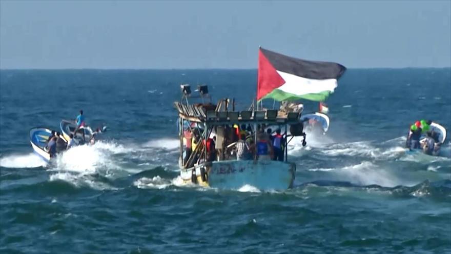 Sexta manifestación marítima en Gaza para romper bloqueo israelí