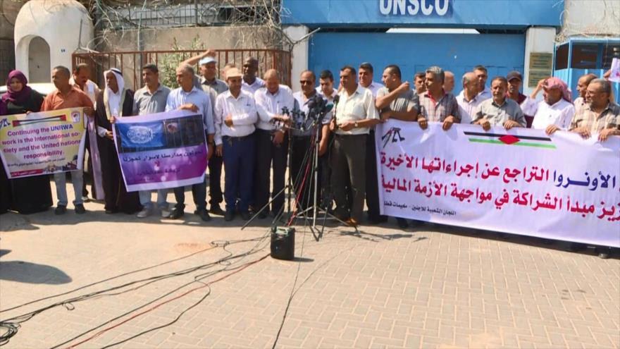 Protestan en Gaza contra EEUU por recortar fondos a UNRWA