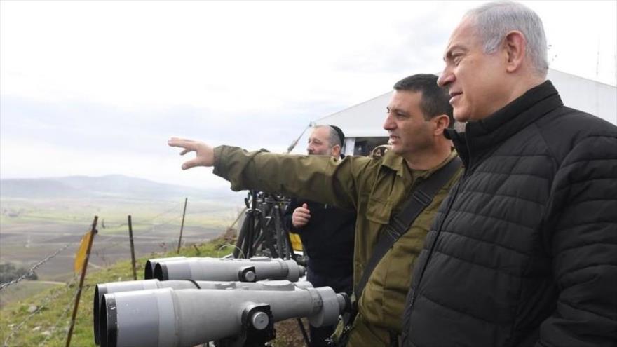 El primer ministro israelí, Benjamín Netanyahu, en una visita a los ocupados altos del Golán.