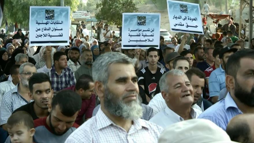 Palestinos protestan contra recortes de fondos de EEUU a UNRWA