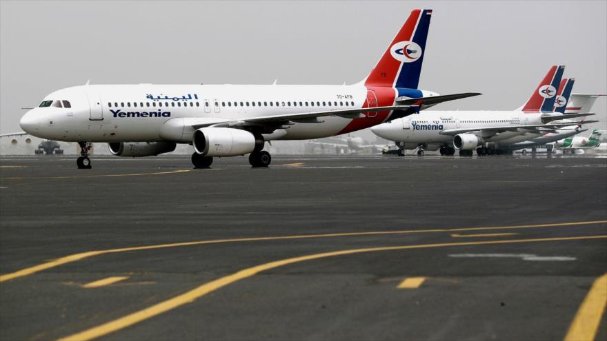 El Aeropuerto Internacional de Saná, capital de Yemen.