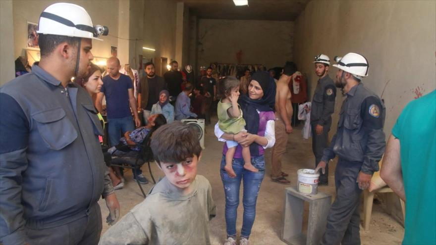 """Los llamados """"Cascos Blancos"""" desplegados en las zonas controladas por los terroristas en Siria."""