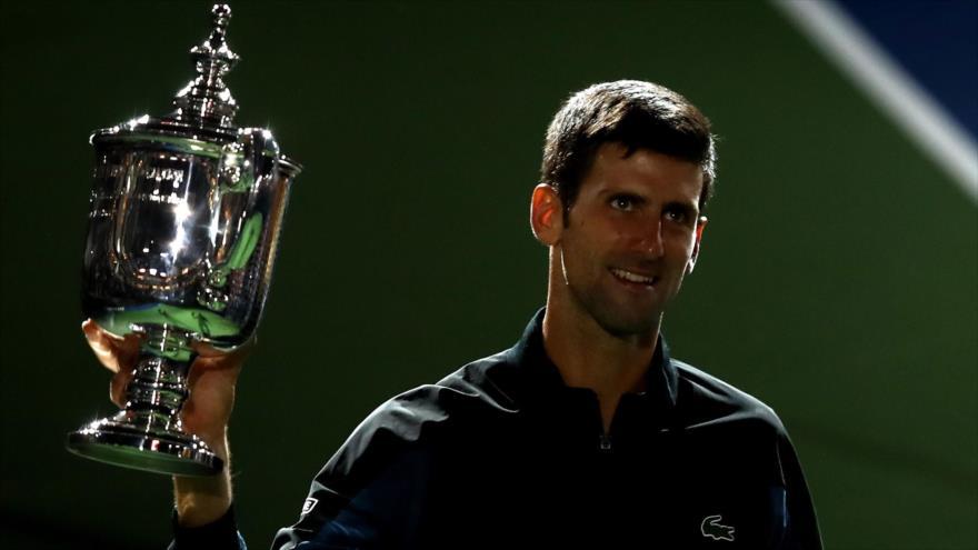 El tenista serbio, Novak Djokovic, tras ganar la final de US Open en la ciudad estadounidense de Nueva York, 9 de septiembre de 2018 (Foto: AFP).