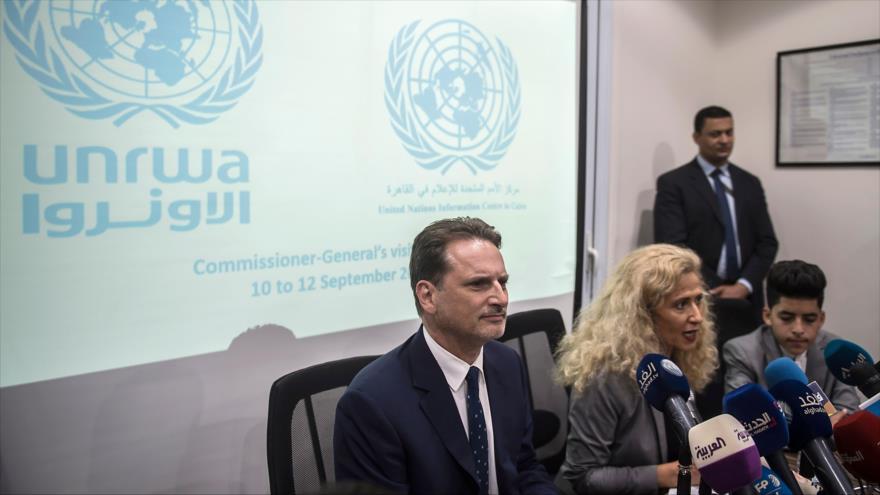 Pierre Krähenbühl, el jefe de la UNRWA, en una rueda de prensa en Egipto, 10 de septiembre de 2018. (Foto: AFP)