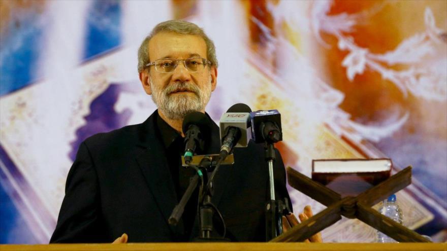 El presidente del Parlamento iraní, Ali Lariyani, en la provincia de Fars, 10 de septiembre de 2018. (Foto: ICANA)