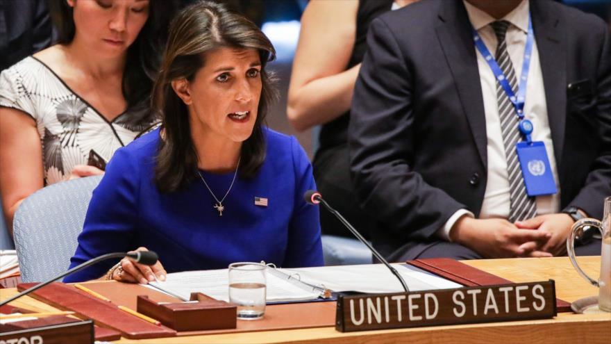 La embajadora de EE.UU. ante la ONU, Nikki Haley, habla en una sesión del Consejo de Seguridad, 28 de agosto de 2018. (Foto: AFP)