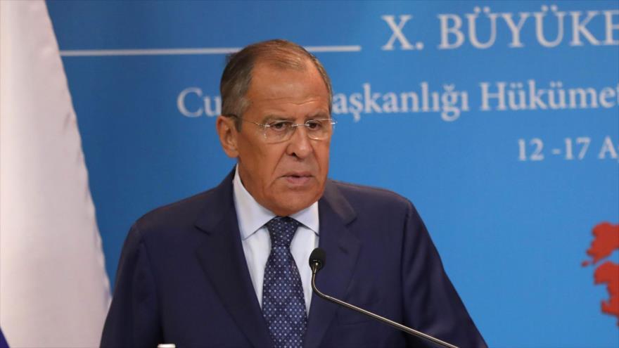El canciller ruso, Serguéi Lavrov, en una conferencia de prensa en Ankara, capital de Turquía, 14 de agosto de 2018 (Foto: AFP).