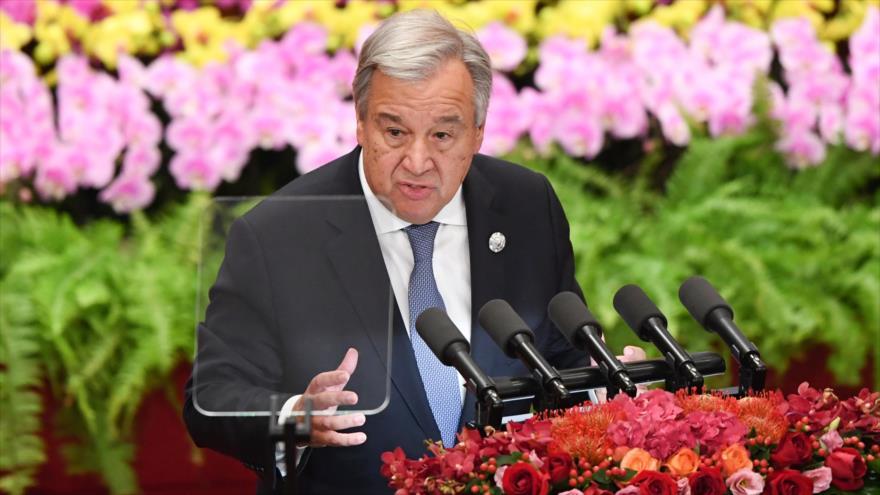 El secretario general de la organización de las Naciones Unidas, Antonio Guterres, en Pekín (capital china), 3 de septiembre de 2018 (Foto: AFP).