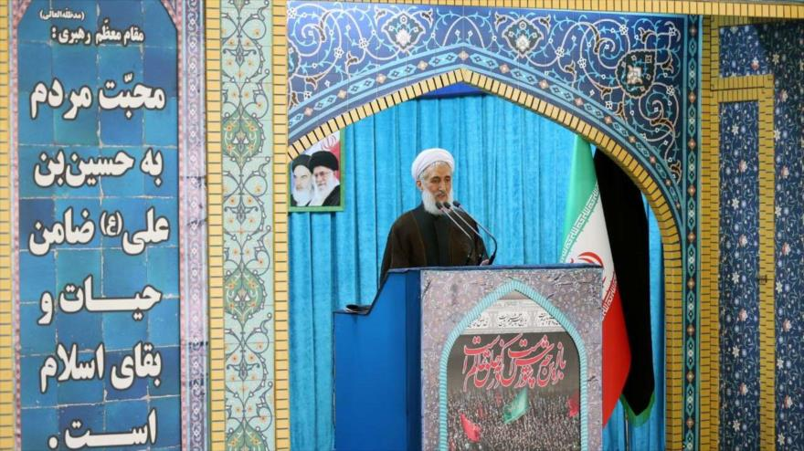 El hoyatolislam Kazem Sediqi, ofrece el sermón del rezo del viernes en Teherán, capital de Irán, 14 de septiembre de 2018. (Foto:IRNA)
