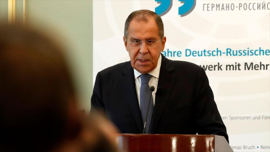 El ministro de Asuntos Exteriores de Rusia, Serguei Lavrov, en una rueda de prensa en Berlín, la capital de Alemania, 14 de septiembre de 2018 (Foto: AFP).