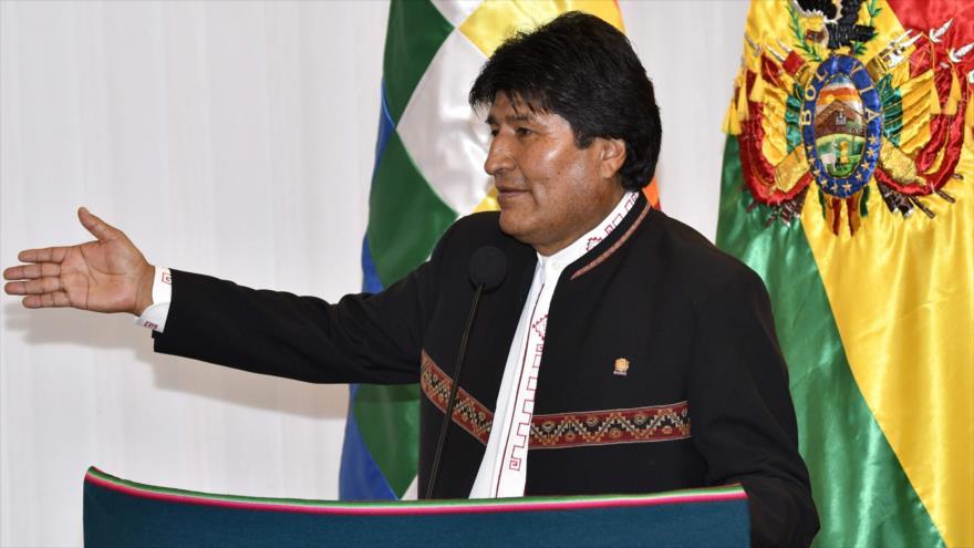 El presidente de Bolivia, Evo Morales, da un discurso en Santa Cruz, Bolivia, 28 de agosto de 2018.