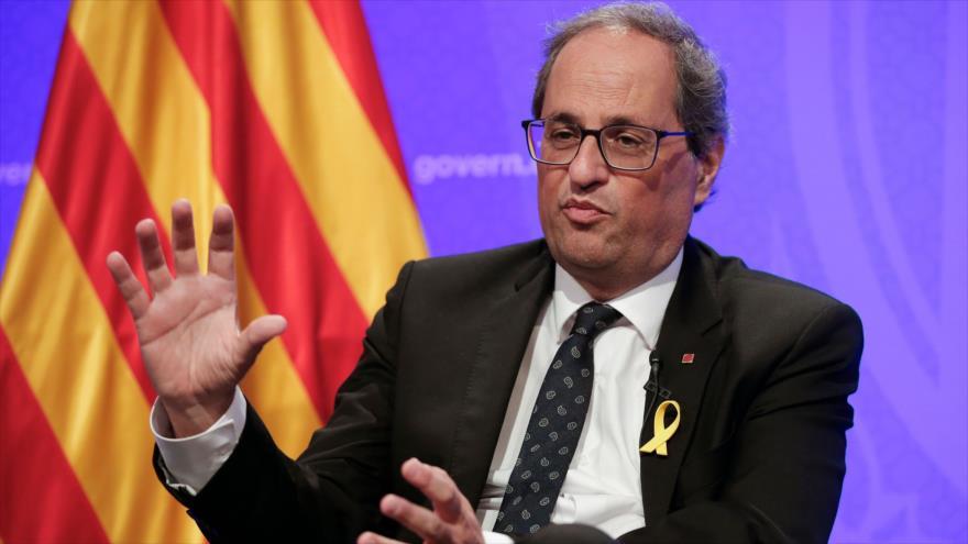 El presidente de la Generalitat, Quim Torra, habla en una rueda de prensa en Barcelona, 11 de septiembre de 2018. (Foto: AFP)