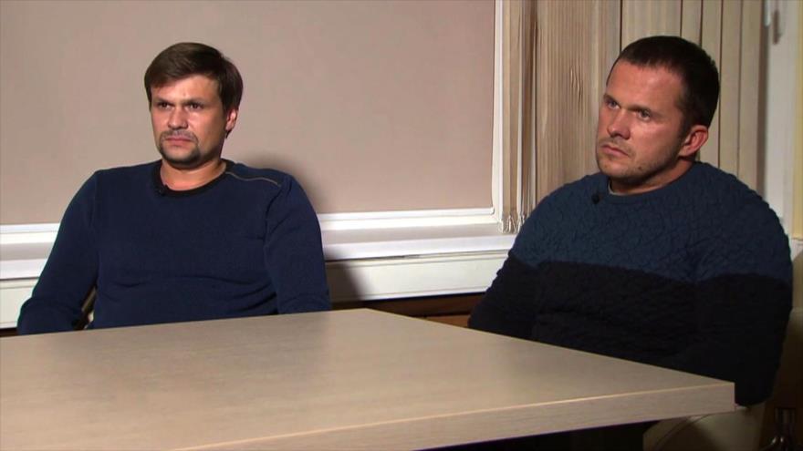 Sospechosos rusos identificados como Alexander Petrov y Ruslan Boshirov, acusados por Londres de envenenar a Serguéi Skripal, 13 de septiembre de 2018.