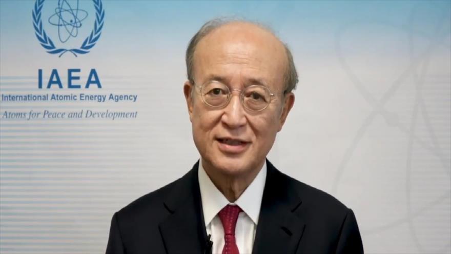 El director general de la IAEA, Yukiya Amano, transmite un mensaje de vídeo antes del inicio de una conferencia del ente, 17 de septiembre de 2018.