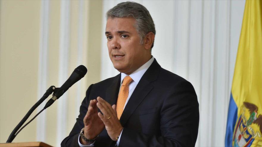 El presidente de Colombia, Iván Duque, ofrece un discurso en Bogotá, capital, 13 de agosto de 2018.