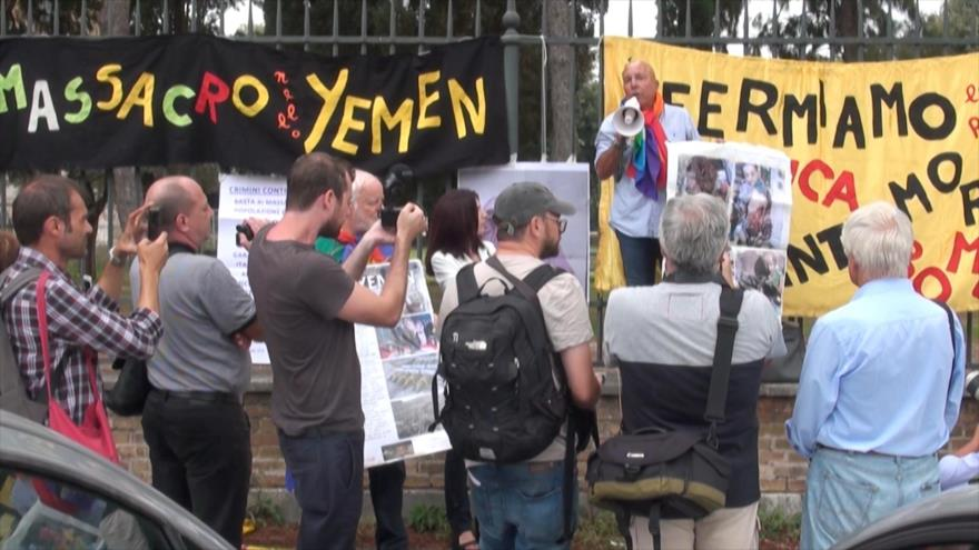 Italianos protestan por los crímenes saudíes en Yemen