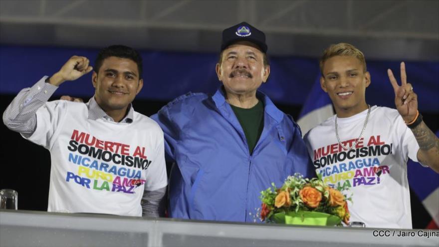 El presidente de Nicaragua, Daniel Ortega, durante un acto público en Managua, 22 de sepetiembre de 2018.