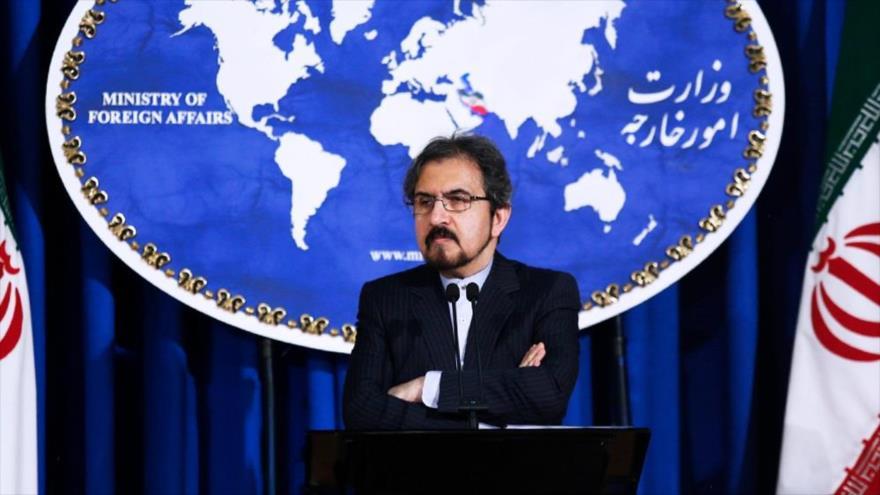 El portavoz de la Cancillería iraní, Bahram Qasemi, ofrece una conferencia de prensa en Teherán (capital iraní).