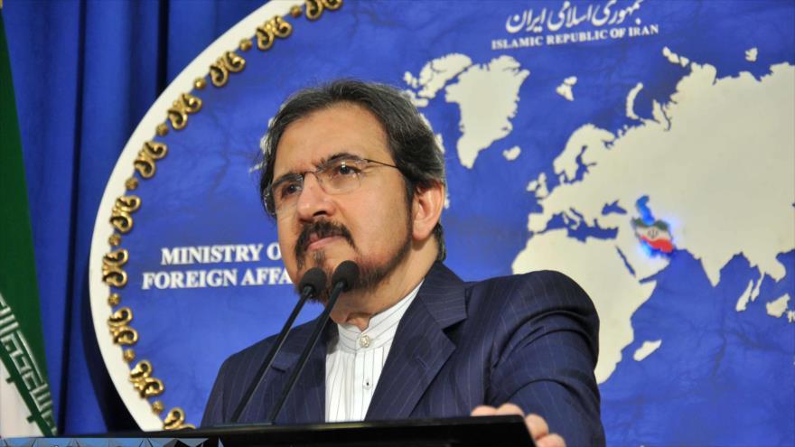 El portavoz de la Cancillería iraní, Bahram Qasemi, ofrece una conferencia de prensa en Teherán, capital persa.