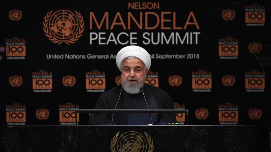 El presidente iraní, Hasan Rohani, habla en la Cumbre de la Paz de la Asamblea General de Naciones Unidas (AGNU), 24 de septiembre de 2018. (Foto: AFP)