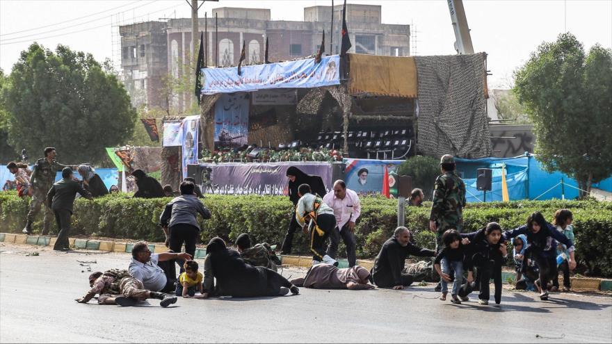 La escena del atentado terrorista en Ahvaz, suroeste de Irán, 22 de septiembre de 2018. (Foto: ISNA)