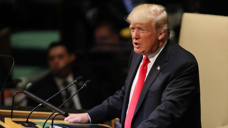 El presidente de EE.UU., Donald Trump, ofrece un discurso en la Asamblea General de Naciones Unidas (AGNU), 25 de septiembre de 2018. (Foto: AFP)