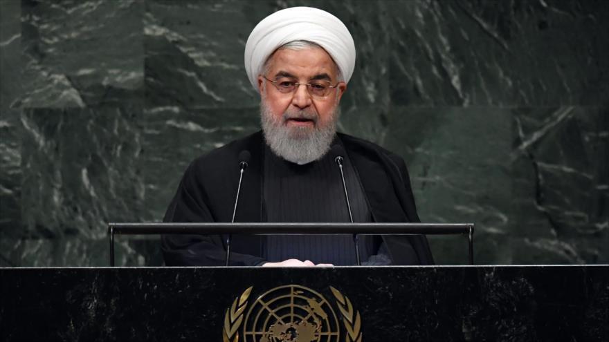 El presidente de Irán, Hasan Rohani, ofrece un discurso en la Asamblea General de Naciones Unidas, 25 de septiembre de 2018, (Foto: AFP).