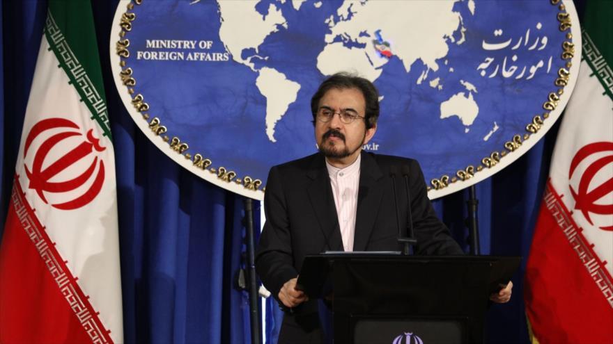 El vocero de la Cancillería de Irán, Bahram Qasemi, ofrece una rueda de prensa.