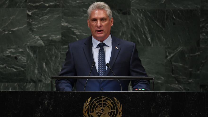 El presidente cubano, Miguel Díaz-Canel, interviene ante la Asamblea General de la ONU, 26 de septiembre de 2018. (Foto: AFP)