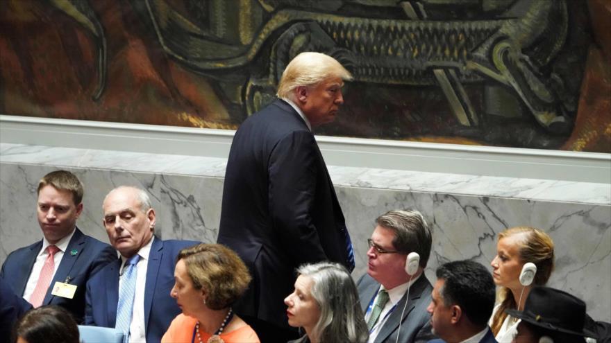 El presidente de EE.UU., Donald Trump, en una sesión del Consejo de Seguridad de Naciones Unidas, 26 de septiembre de 2018. (Fuente: AFP)