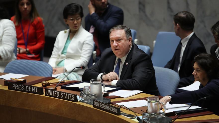 El secretario de Estado de EE.UU., Mike Pompeo, en la sesión del Consejo de Seguridad de las Naciones Unidas, 27 de septiembre de 2018. (Foto: AFP)