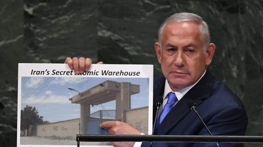 Premier israelí, Benjamín Netanyahu, en el 73.º periodo de sesiones de la Asamblea General de Naciones Unidas, 27 de septiembre de 2018. (Foto: AFP)