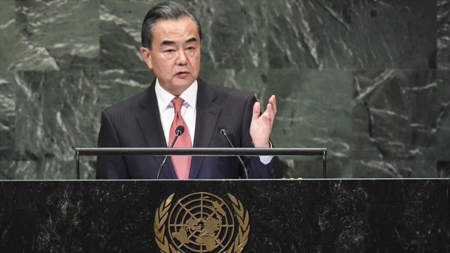 El canciller chino, Wang Yi, ofrece un discurso ante la Asamblea General de Naciones Unidas (AGNU) en Nueva York, EE.UU., 28 de septiembre de 2018 (Foto: AFP).