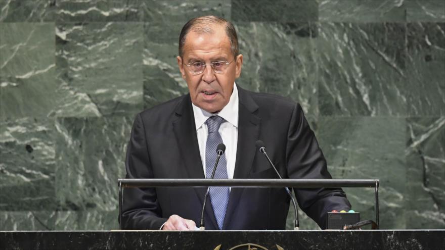 El ministro de Asuntos Exteriores de Rusia, Serguéi Lovrov, en la Asamblea General de la ONU, 28 de septiembre de 2018. (Foto: AFP)