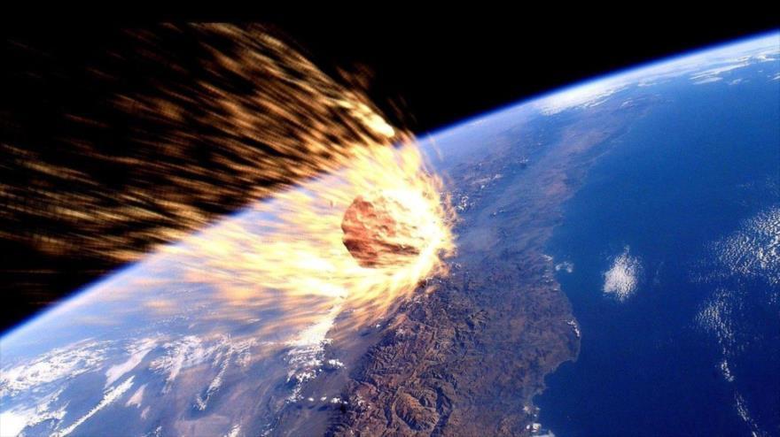 Un asteroide simulado que se está acercando a la Tierra.