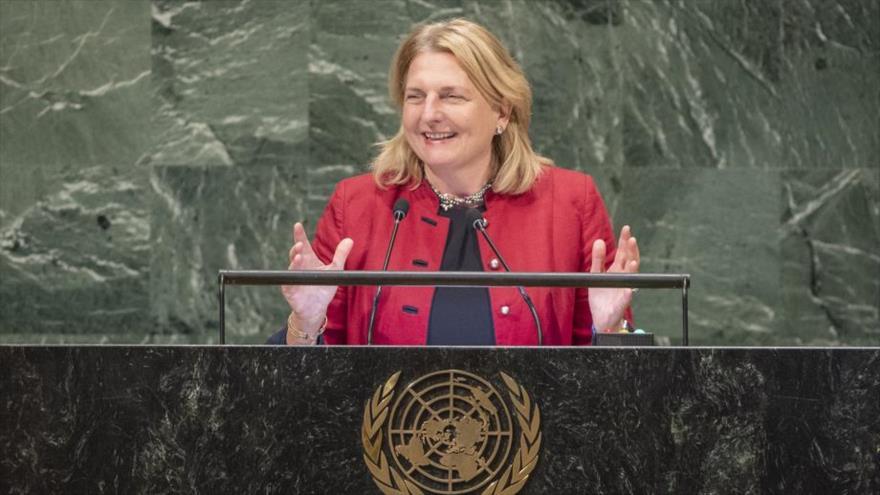 La ministra de Asuntos Exteriores de Austria, Karin Kneissl, durante su discurso en la ONU, 29 de septiembre de 2018.