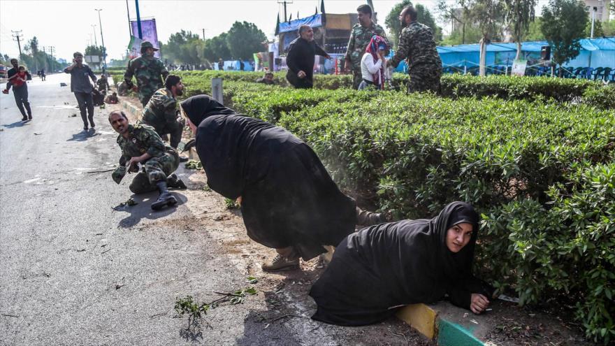 Escenario de un ataque terrorista contra un desfile militar en Ahvaz, en el suroeste de Irán, 22 de septiembre de 2018 (Foto: AFP).