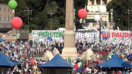 Protestan contra políticas de odio del Gobierno en Italia