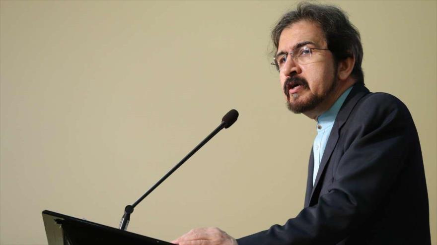 El portavoz de la Cancillería iraní, Bahram Qasemi, en una conferencia de prensa en Teherán (capital iraní), 1 de octubre de 2018 (Foto: IRNA).